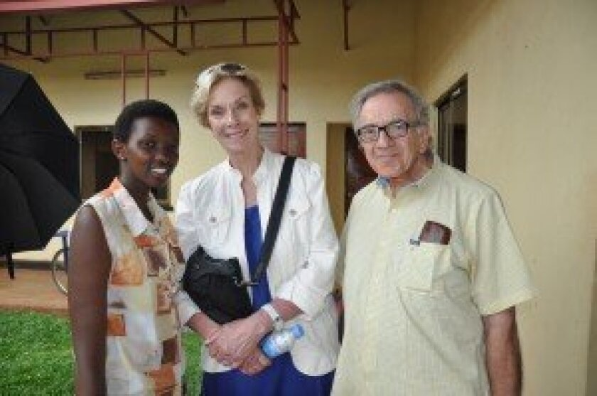 Harry Leibowitz and Kay Isaacson-Leibowitz with some of the children they met in Rwanda. Courtesy photos