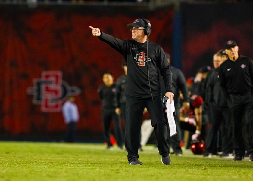San Diego State offensive coordinator Jeff Horton coaches from the sidelines during an Aztecs game at SDCCU Stadium.