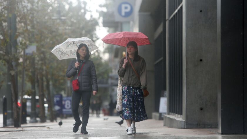 LOS ANGELES, CA-FEBRUARY 4, 2019: People walk downtown on a rainy day on February 4, 2019, in Los An