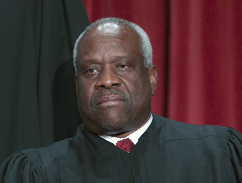 Justice Clarence Thomas wrote the majority opinion in Monday's traffic-stop ruling.