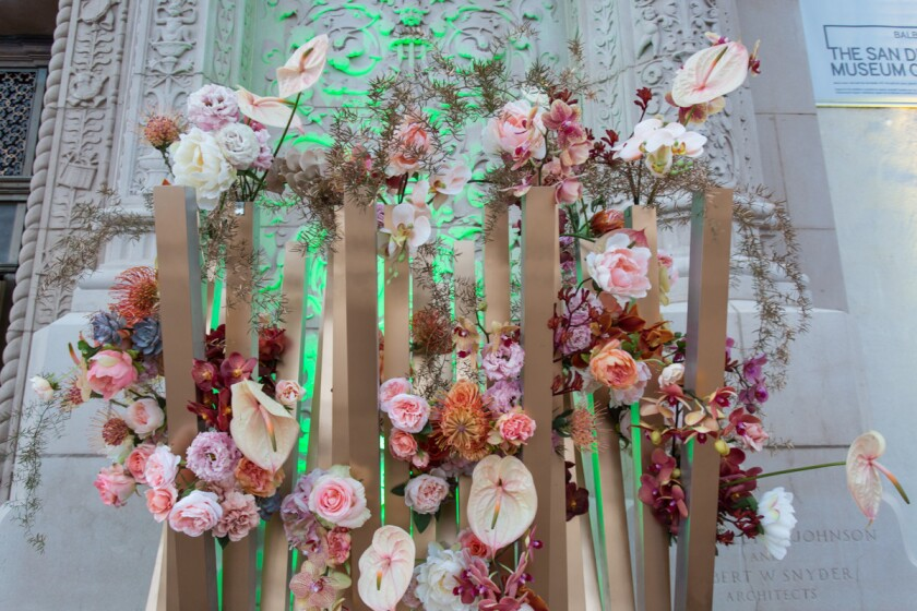 A piece of floral artwork outside the San Diego Museum of Art during Bloom Bash in April 2018