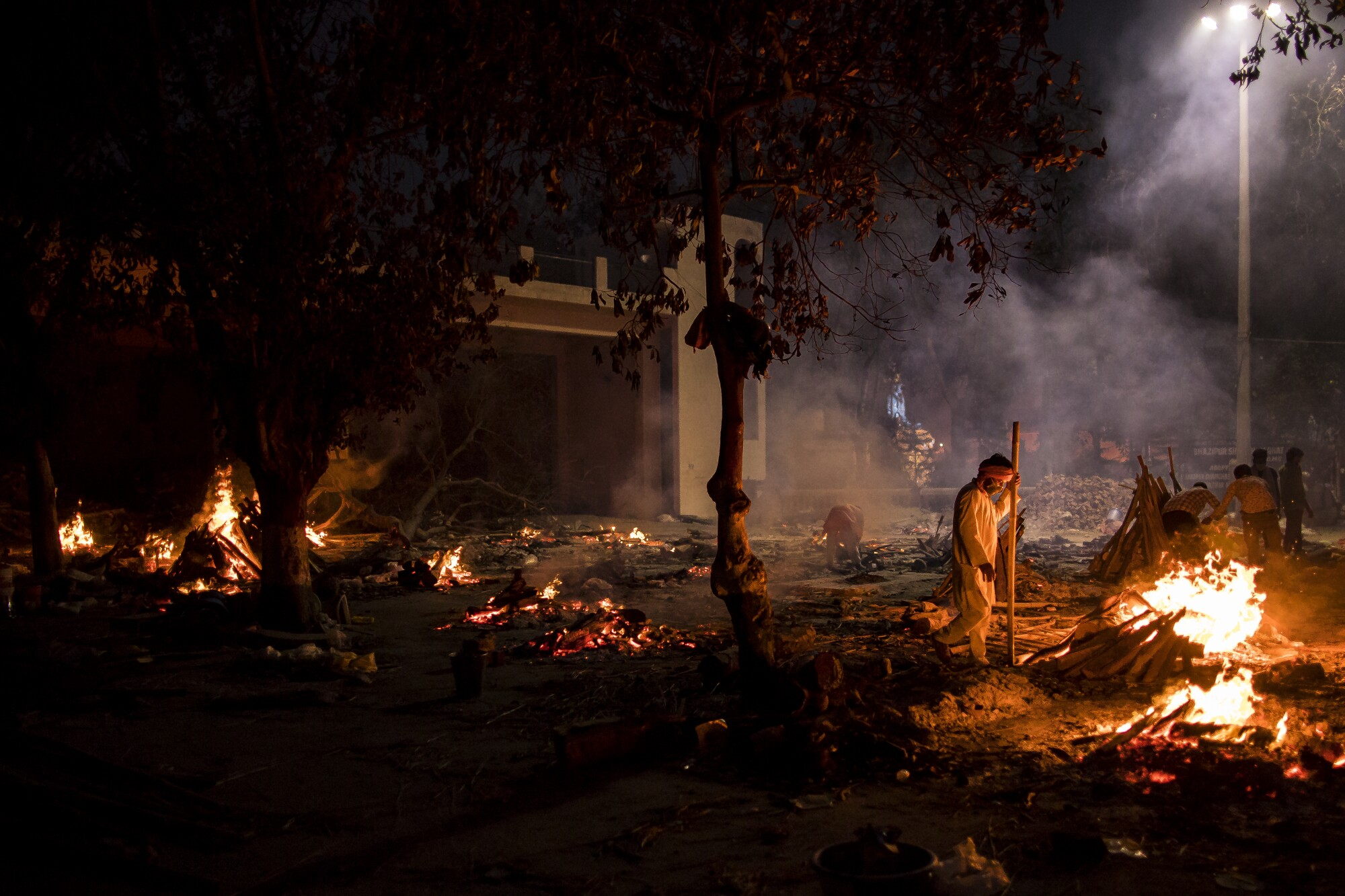 Funeral pyres in New Delhi
