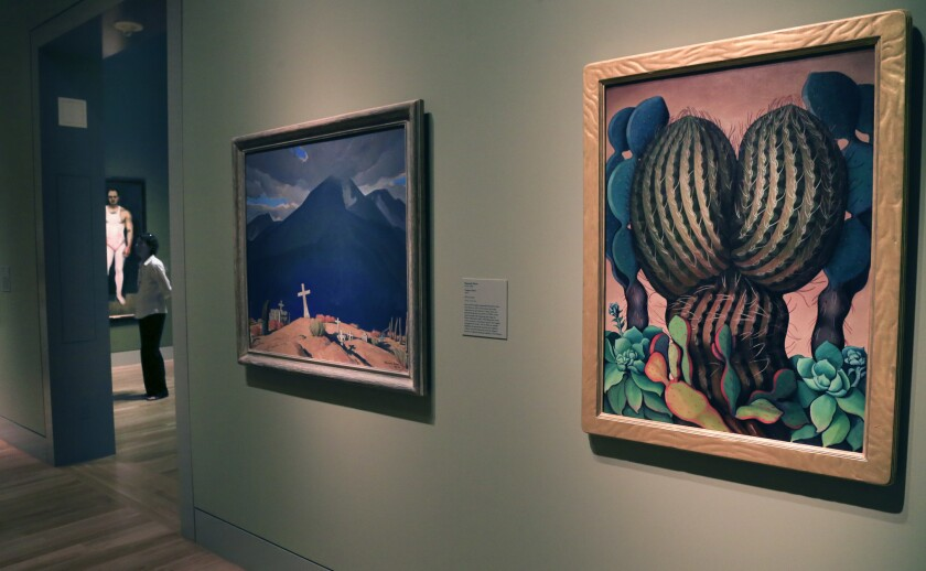 "Maynard Dixon's ""Campo Santo,"" 1931-32, and Henrietta Shore's ""Cactus"" are two paintings in the five new galleries devoted to American art at the Huntington in San Marino."
