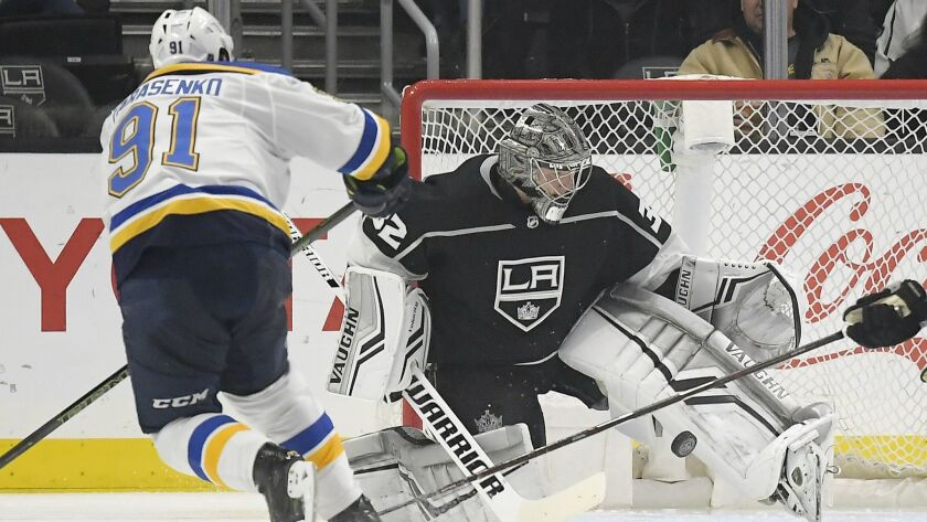 Kings goaltender Jonathan Quick, stops a shot by St. Louis Blues right wing Vladimir Tarasenko during the second period.
