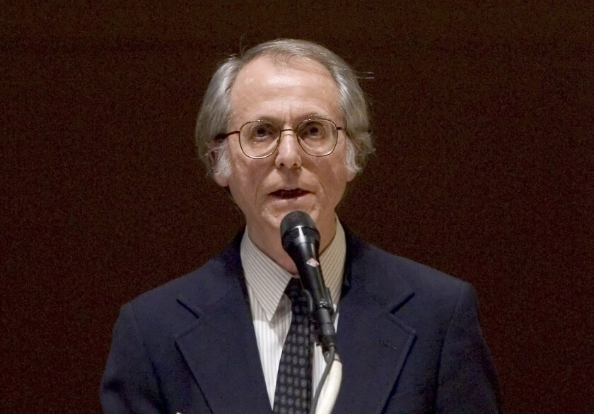 2008 photo of author Don DeLillo speaking at Carnegie Hall in New York.