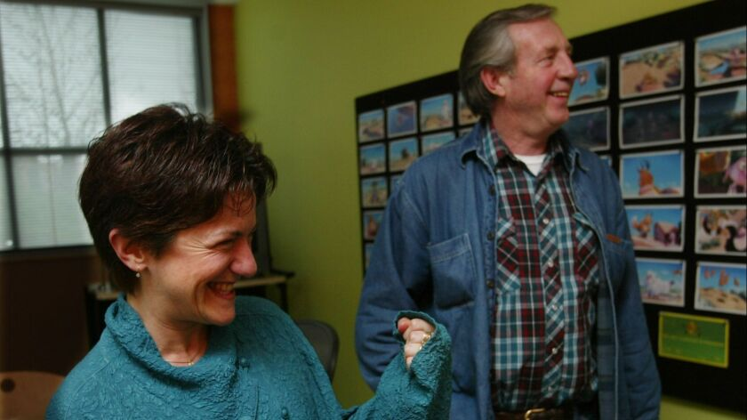 """Bud Luckey, right, and Pixar producer Osnat Shurer during an interview about Luckey's Oscar nominiation for """"Boundin'."""""""
