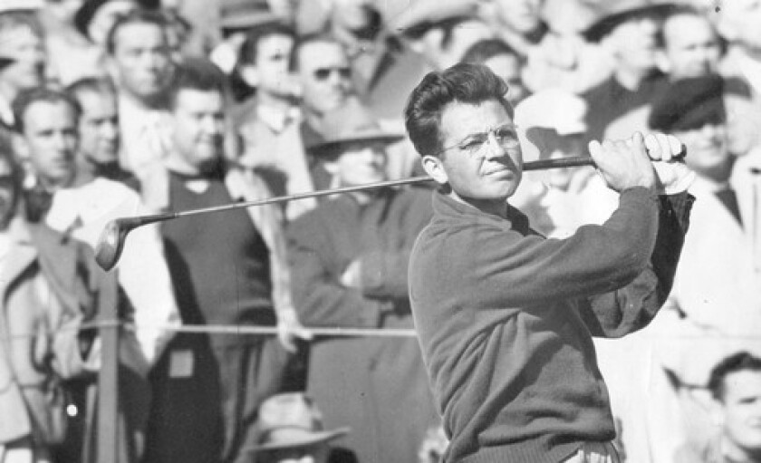 """Before becoming a coach to the stars, Eric Monti was on the PGA Tour, winning three tournaments. """"Stay with simple, fundamental things,"""" he once said of his teaching method. Monti, seen here in 1949, died Feb. 1 at age 91."""