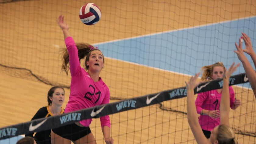 Torrey Pines' Emily Fitzner goes up for a spike against Marymount Saturday during the semi-finals