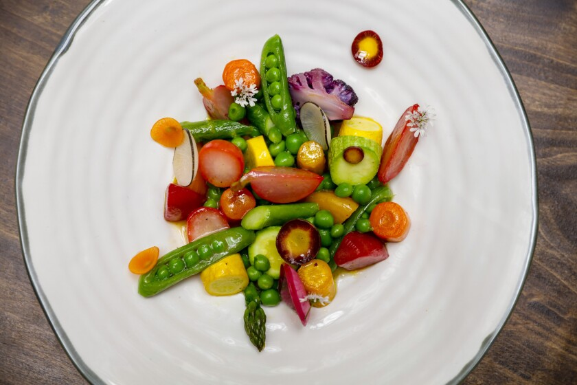 Legumes de Saison, roasted, braised, steamed and raw seasonal vegetables.