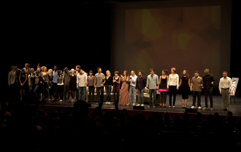 """The cast of the 2012 edition of """"The 24 Hour Plays"""" takes its bows at the Broad Stage in Santa Monica. This year's third annual staging will take place there Saturday."""