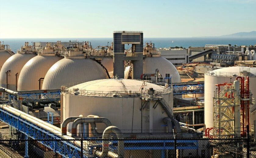 Domes and water tanks at the Hyperion Water Reclamation Plant in Playa Del Rey in 2016.