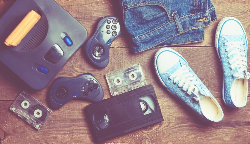 sneakers, vhs tape, cassette tape, jeans