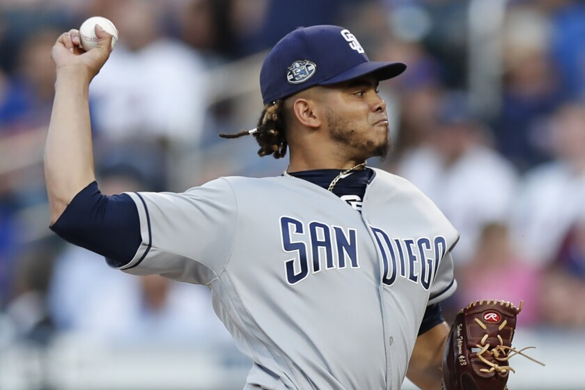 Padres starter Dinelson Lamet threw 80 pitches in four innings Wednesday against the Mets.