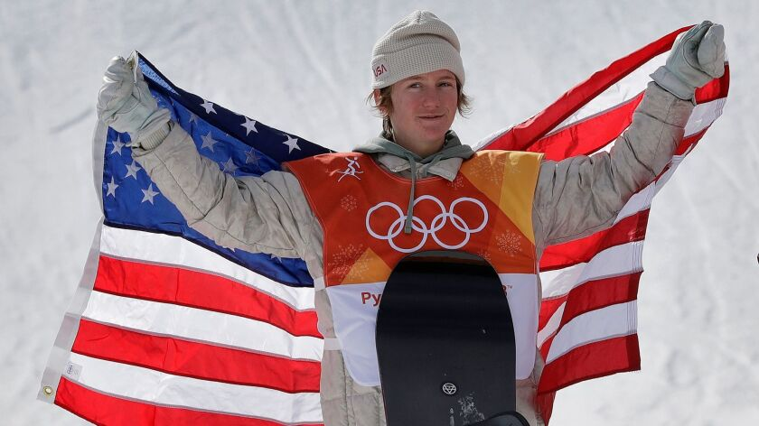 Red Gerard, of the United States, smiles after winning gold in the men's slopestyle final at Phoenix Snow Park at the 2018 Winter Olympics in Pyeongchang, South Korea.