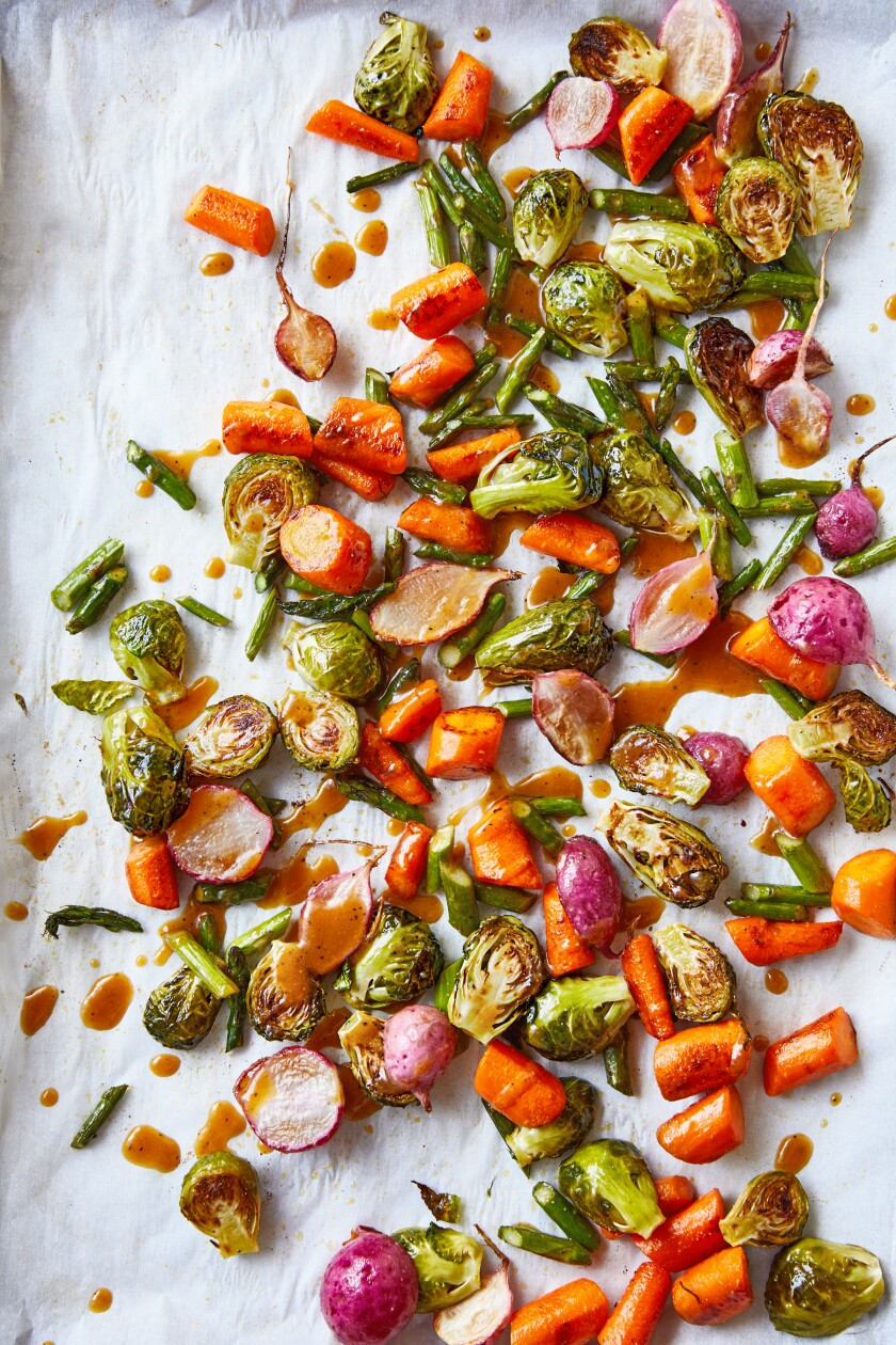 "Umami roasted vegetables from ""Umami Bomb: 75 Vegetarian Recipes That Explode With Flavor"" by Raquel Pelzel"