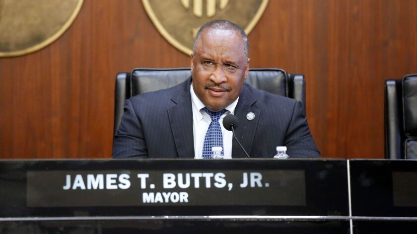 INGLEWOOD, CALIF. -- FRIDAY, JULY 21, 2017: Inglewood Mayor James T. Butts holds a special city coun
