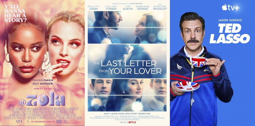 """arte promocional de """"Zola""""; """"The Last Letter From Your Lover"""", y """"Ted Lasso"""""""