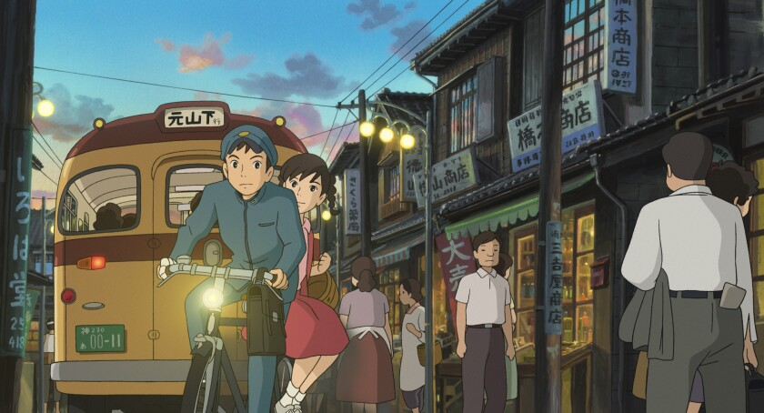 An animated still of teenage boy and girl on a bike