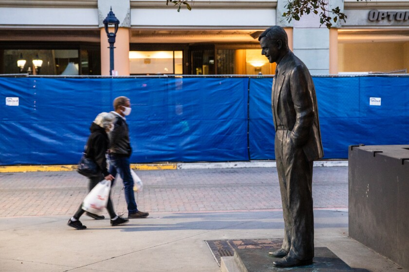 Advocates pushed for the immediate removal of the statue of former San Diego Mayor Pete Wilson.
