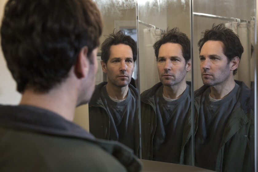 "Paul Rudd is reflected three times in a mirror in a scene from ""Living With Yourself."""