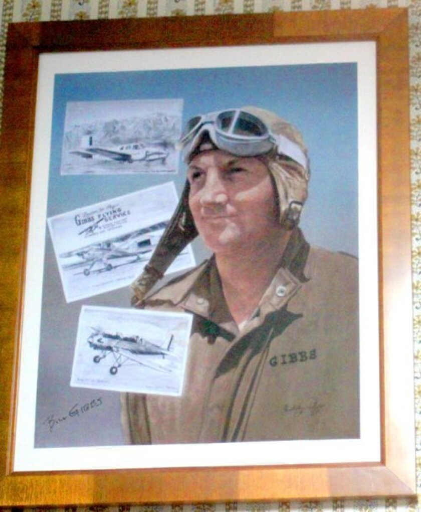 An award from the San Diego Air and Space Museum honoring Bill Gibbs hangs in the office of his La Jolla home.