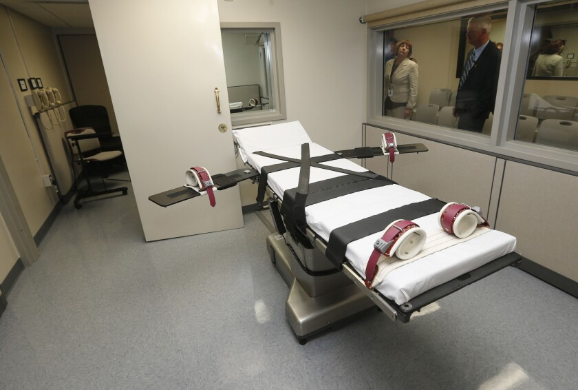 The death chamber at the Oklahoma State Penitentiary in McAlester, Okla., in 2014.