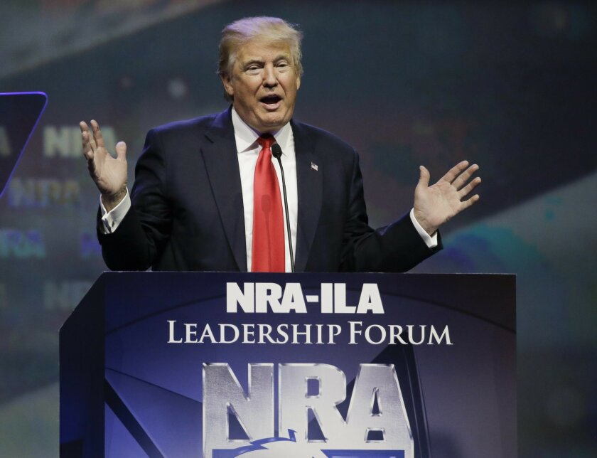 Republican presidential candidate Donald Trump speaks at the National Rifle Association convention, Friday, May 20, 2016, in Louisville, Ky. (AP Photo/Mark Humphrey)