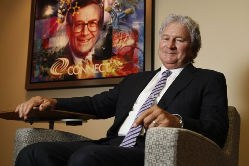 Two entrepreneurial visionaries who played major roles in biotech and high-tech in San Diego. In this 2012 photo, seated, the late Duane Roth, director of Connect. Behind him, a portrait of Connect's founding director, the late Bill Otterson. Although their personalities were different - Otterson e