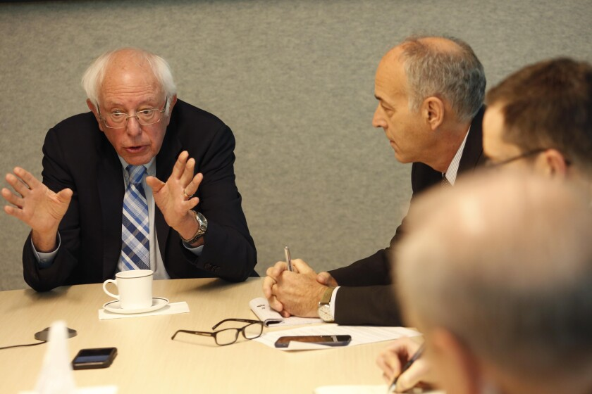 Democratic presidential candidate Sen. Bernie Sanders speakers to members of the L.A. Times Editorial Board on Dec. 21.