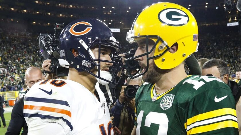 Green Bay Packers' Aaron Rodgers talks to Chicago Bears' Mitchell Trubisky after an NFL football gam