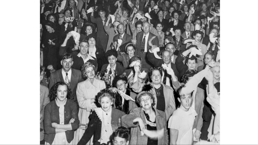 Nov. 20, 1949: Part of the crowd for last night of Dr. Billy Graham six-week crusade in a large tent at Washington Blvd. and Hill St. in Los Angeles.