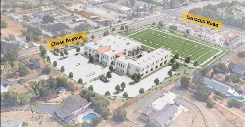 A photo simulation shows the proposed campus of Liberty Charter High School in Rancho San Diego looking northeast from above.
