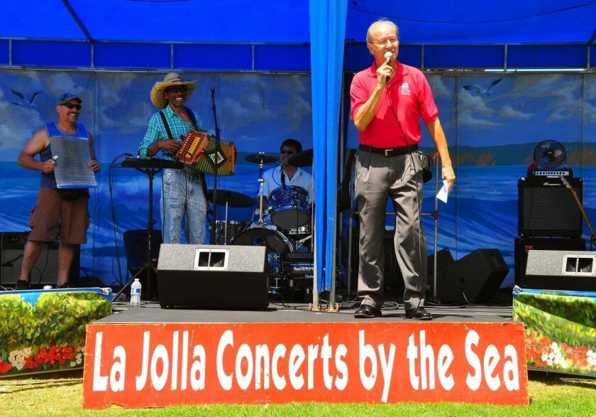 Ron Jones serves as emcee at the summer concerts, which run 2-4 p.m. Sundays at Ellen Browning Scripps Park.