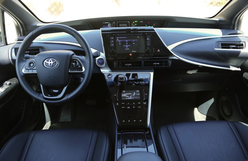 The Mirai's futuristic interior design is thoughtful and appealing, and puts everything in easy reach.