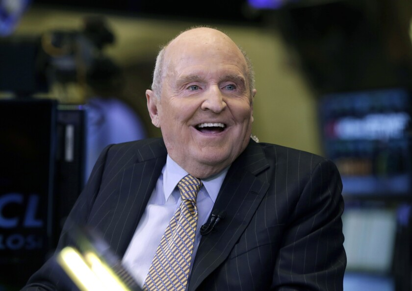 FILE - In this Oct. 22, 2013 file photo, former Chairman and CEO of General Electric Jack Welch appears on CNBC on the floor of the New York Stock Exchange. Welch, who transformed General Electric Co. into a highly profitable multinational conglomerate and parlayed his legendary business acumen into a retirement career as a corporate leadership guru, has died at the age of 84. (AP Photo/Richard Drew, File)