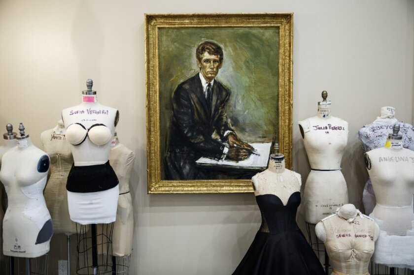 """A painting of famed Hollywood designer Nolan Miller, best known for creating the wardrobe for """"Dynasty,"""" is on the wall outside designer Mark Zunino's office. Miller is a former mentor and business partner of Zunino."""