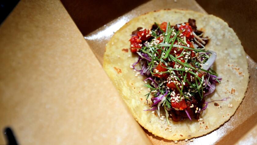 Ton Ton Tattoo taco on the Mad Pambazos food truck.