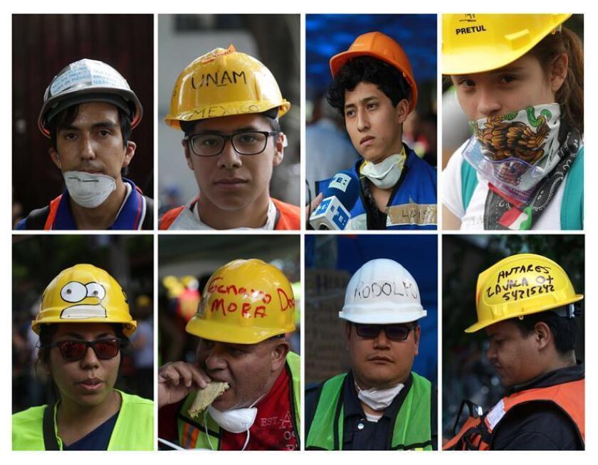 Combo de fotografías de archivo que muestra a rescatistas voluntarios que se volcaron a los escombros de edificios colapsados en el terremoto del 19 de septiembre de 2017, en Ciudad de México (México). EFE/Archivo