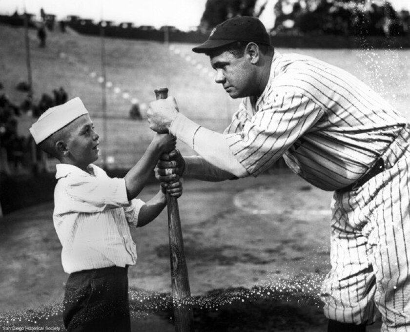 When Babe Ruth came to San Diego, he was always sure to pay special attention to his younger fans.