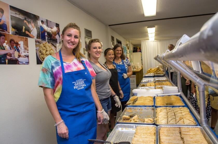 Volunteers are ready to serve baklava and other Greek delicacies to visitors at St. Spyridon's 50th annual Greek Festival in Hillcrest. The fete will be held June 7-9.