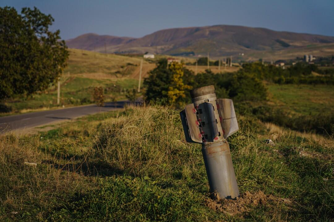 A large Azerbaijan missile hits the ground outside Martuni, Nagorno-Karabakh.