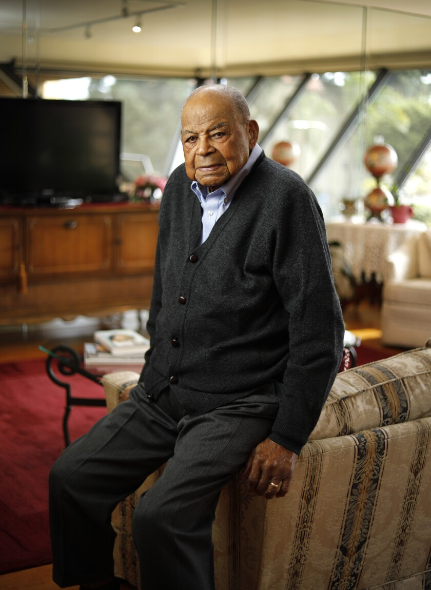 """""""I think San Diego is one of the jewels of America,"""" said Theo Logan, 102, at his home. """"In addition to the climate, I think there's a certain amount of tolerance in San Diego that we kind of fluff over and don't realize it's much more so than in other big cities."""""""