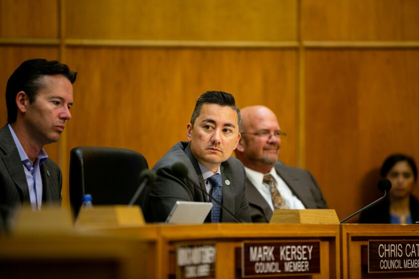 San Diego City Councilmember Chris Cate attends a council meeting in 2019 in San Diego.