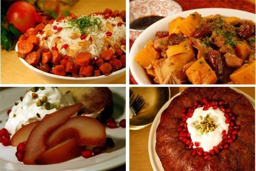 Rice pilaf with pomegranate-glazed carrots, top left, Chicken tzimmes with dates, top right, Pomegranate-poached pears, bottom left, Pomegranate sabrina, bottom right.