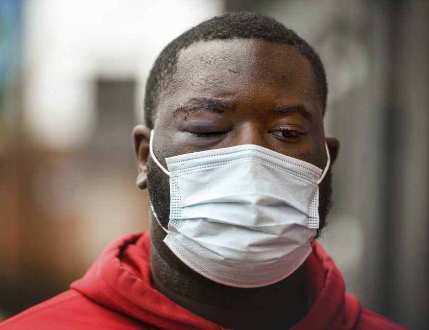 De'Vincent Spriggs stands outside of the Pittsburgh Police Zone 3