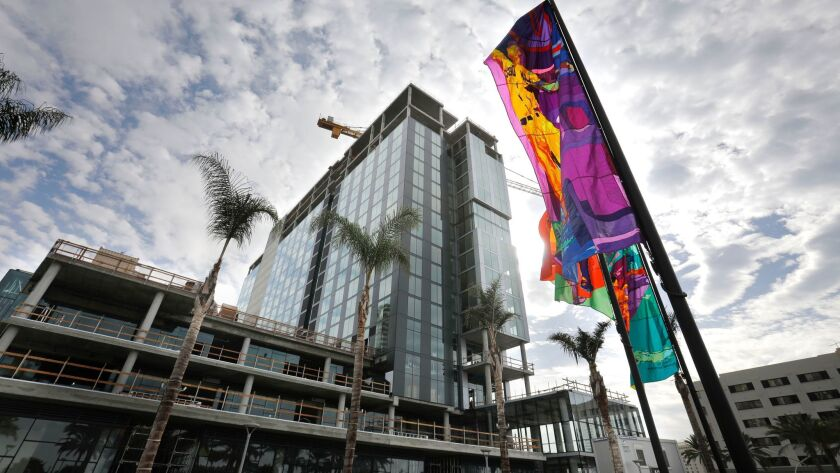 SAN DIEGO, CA 11/29/2017: At the topping-off ceremony for the InterContinental San Diego Hotel, in f