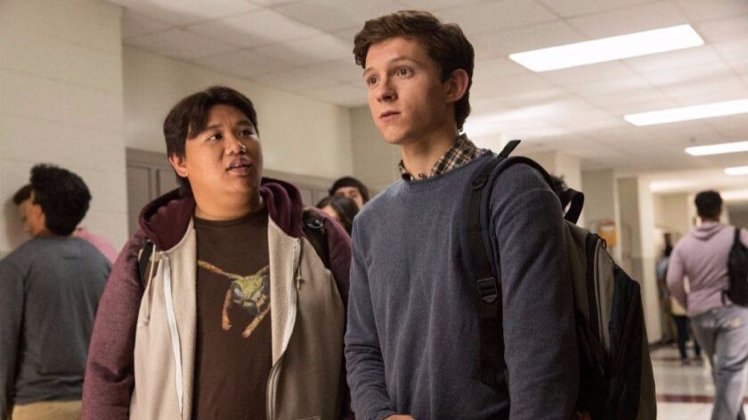 Jacob Batalon (left) and Tom Holland in Columbia Pictures' SPIDER-MAN(TM): HOMECOMING.