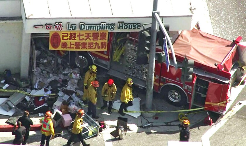 An investigation by the California Highway Patrol concluded that unsafe driving caused an Alhambra Fire Department truck to collide with a Monterey Park fire engine last April. The Monterey Park truck then smashed into a restaurant.