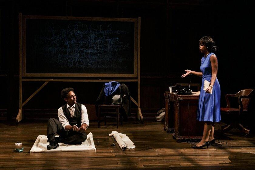 "Michael Benjamin Washington and Mandi Masden in La Jolla Playhouse's ""Blueprints to Freedom."""