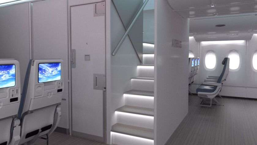A new forward staircase for the Airbus A380 plane would help free up room for up to 80 more seats.